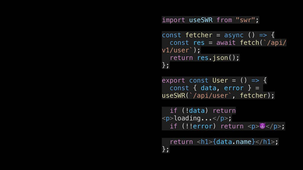 """import useSWR from """"swr""""; const fetcher = async..."""