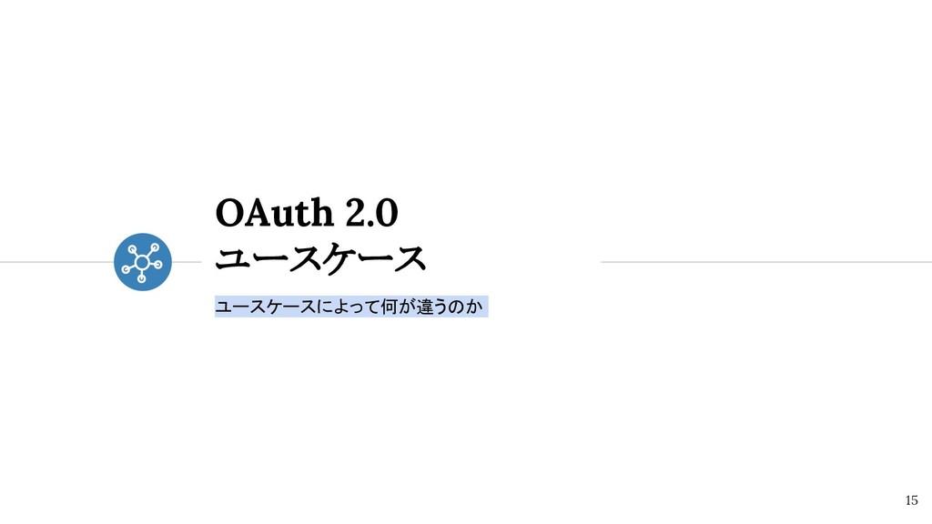 OAuth 2.0 ユースケース ユースケースによって何が違うのか 15