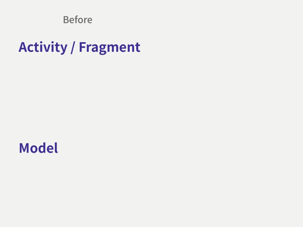 Model Activity / Fragment Before