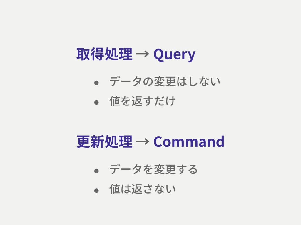 更新処理 → Command 取得処理 → Query • データの変更はしない • 値を返す...