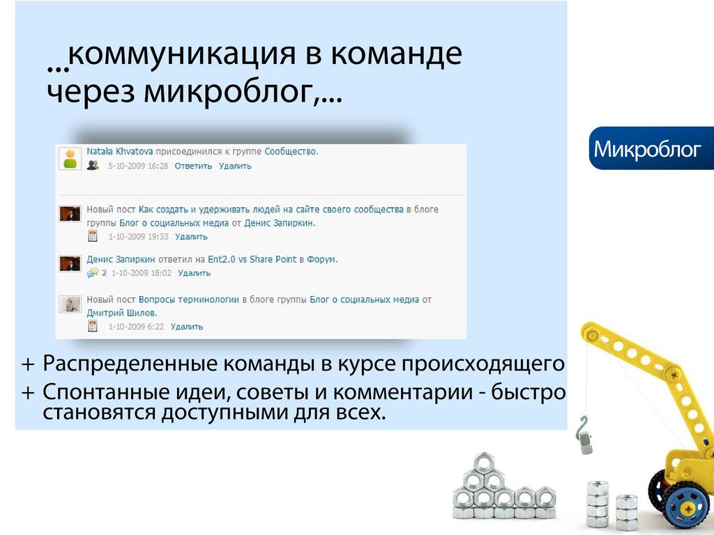 ...коммуникация в команде через микроблог,... +...