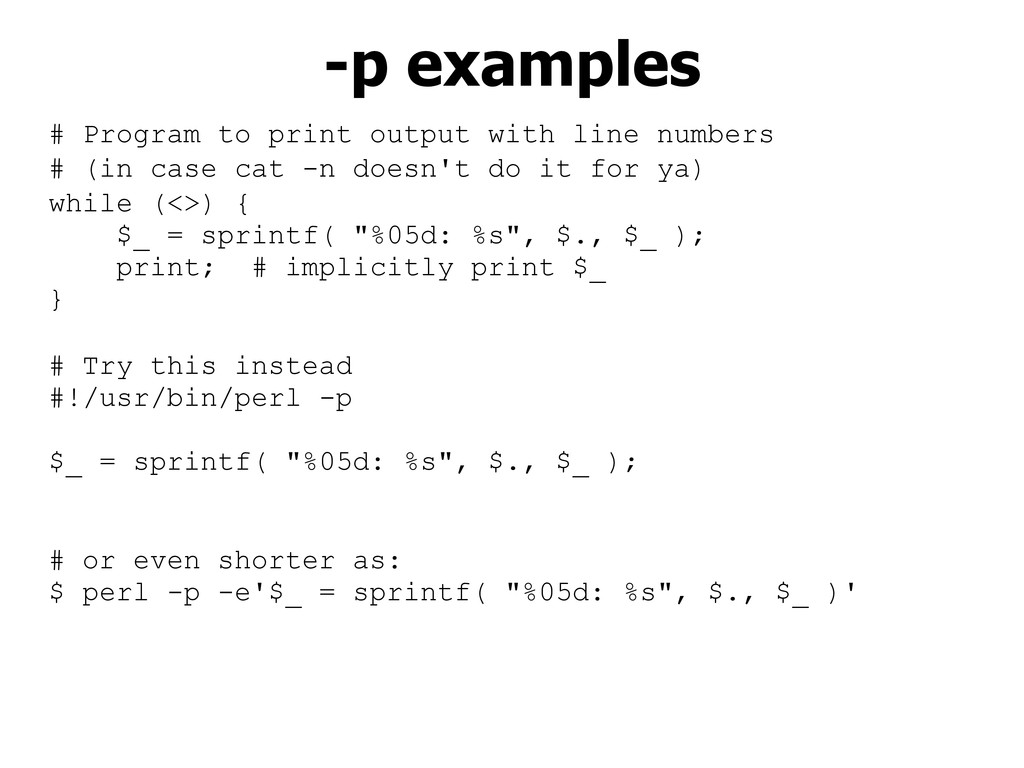 # Program to print output with line numbers # (...