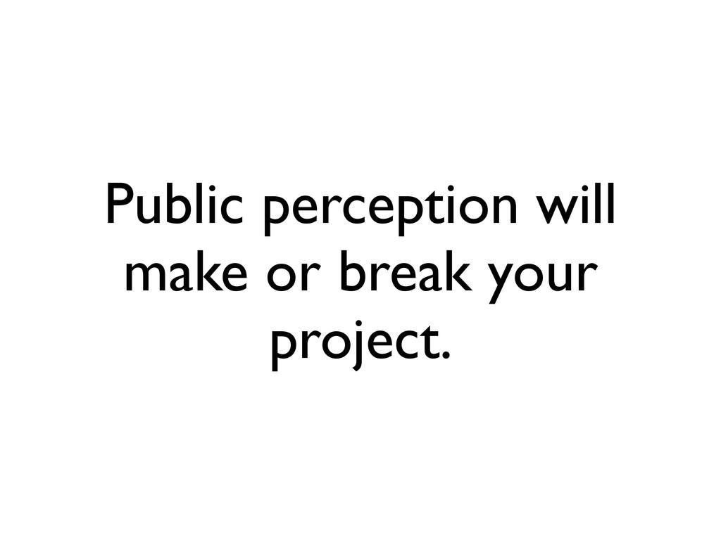 Public perception will make or break your proje...