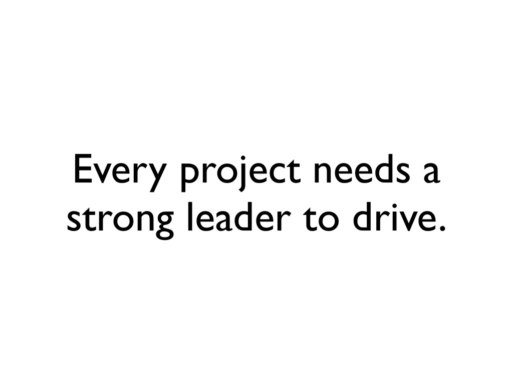 Every project needs a strong leader to drive.