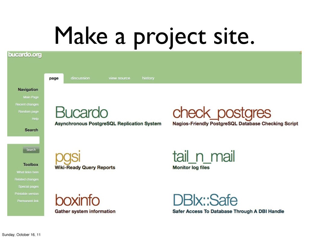 Make a project site. Sunday, October 16, 11