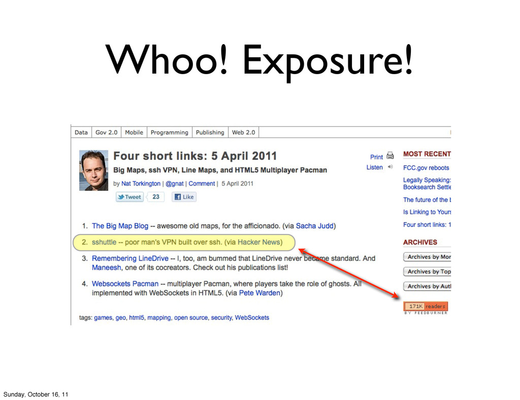 Whoo! Exposure! Sunday, October 16, 11