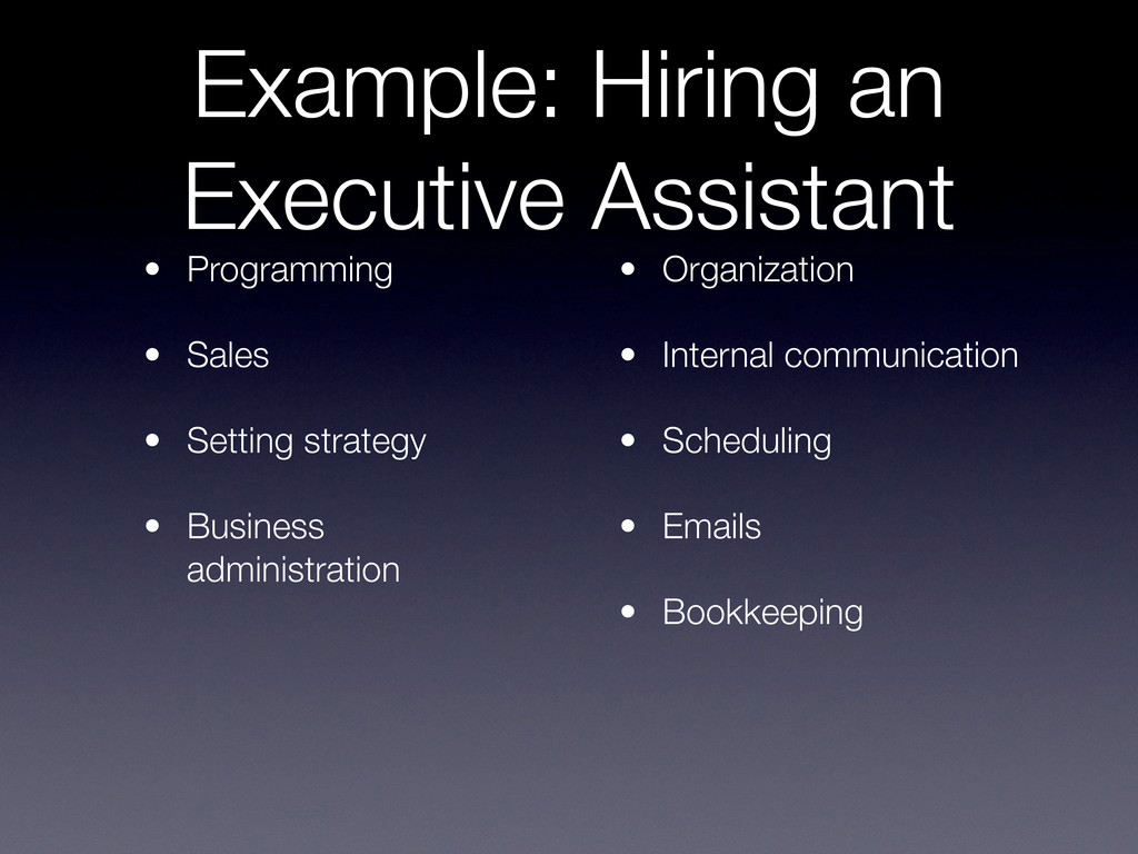 Example: Hiring an Executive Assistant • Progra...