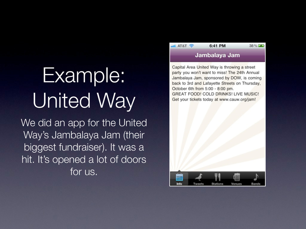 Example: United Way We did an app for the Unite...