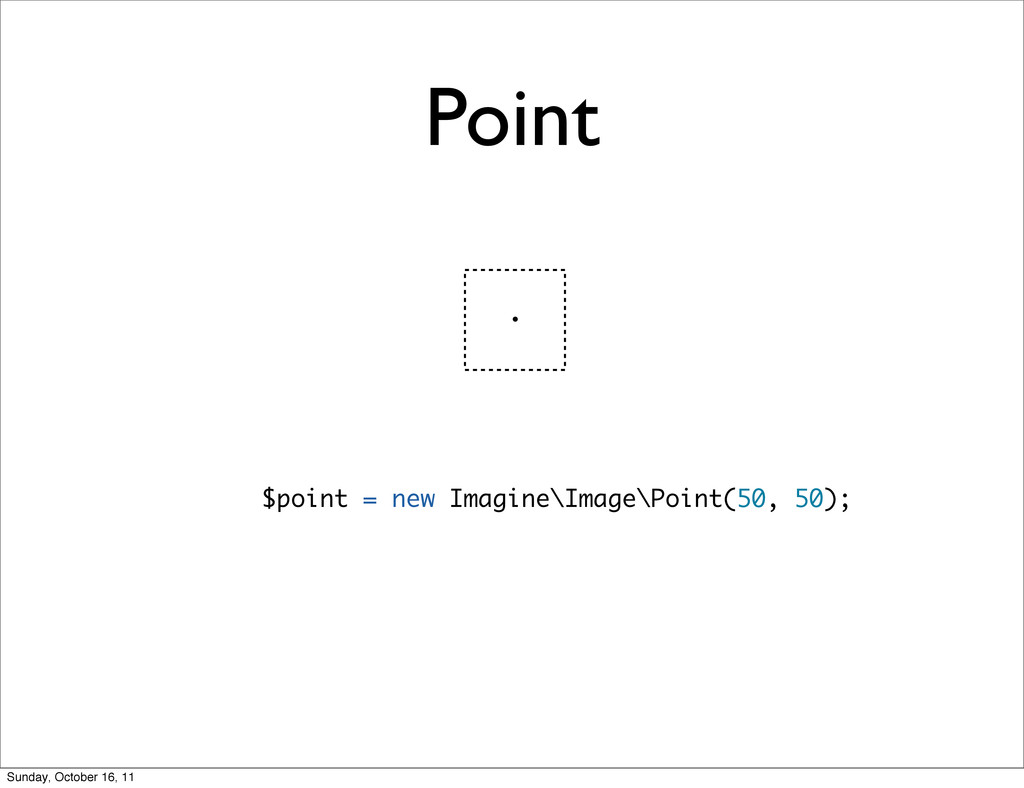 Point $point = new Imagine\Image\Point(50, 50);...