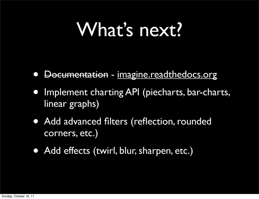 What's next? • Documentation - imagine.readthed...