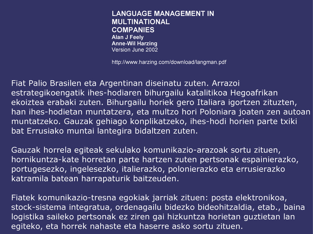 LANGUAGE MANAGEMENT IN MULTINATIONAL COMPANIES ...