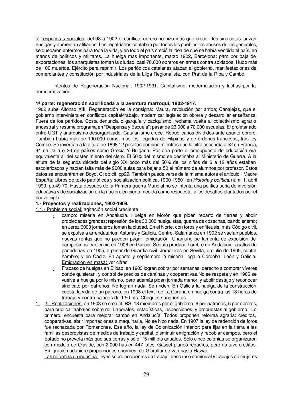 29 c) respuestas sociales: del 98 a 1902 el con...