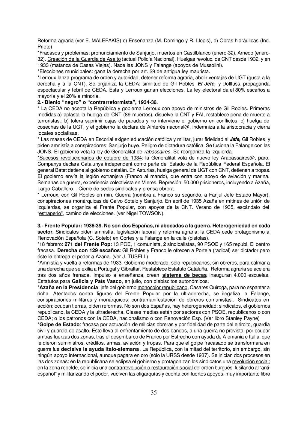 35 Reforma agraria (ver E. MALEFAKIS) c) Enseña...
