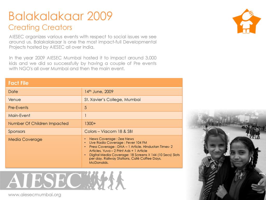 Balakalakaar 2009 Creating Creators Fact File D...