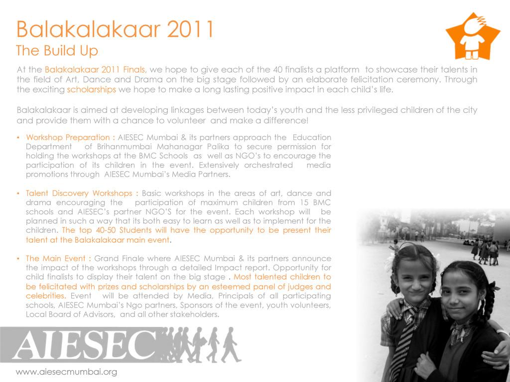 Balakalakaar 2011 The Build Up www.aiesecmumbai...