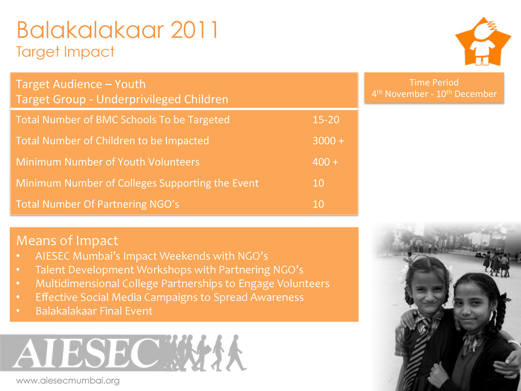 Balakalakaar 2011 Target Impact www.aiesecmumba...