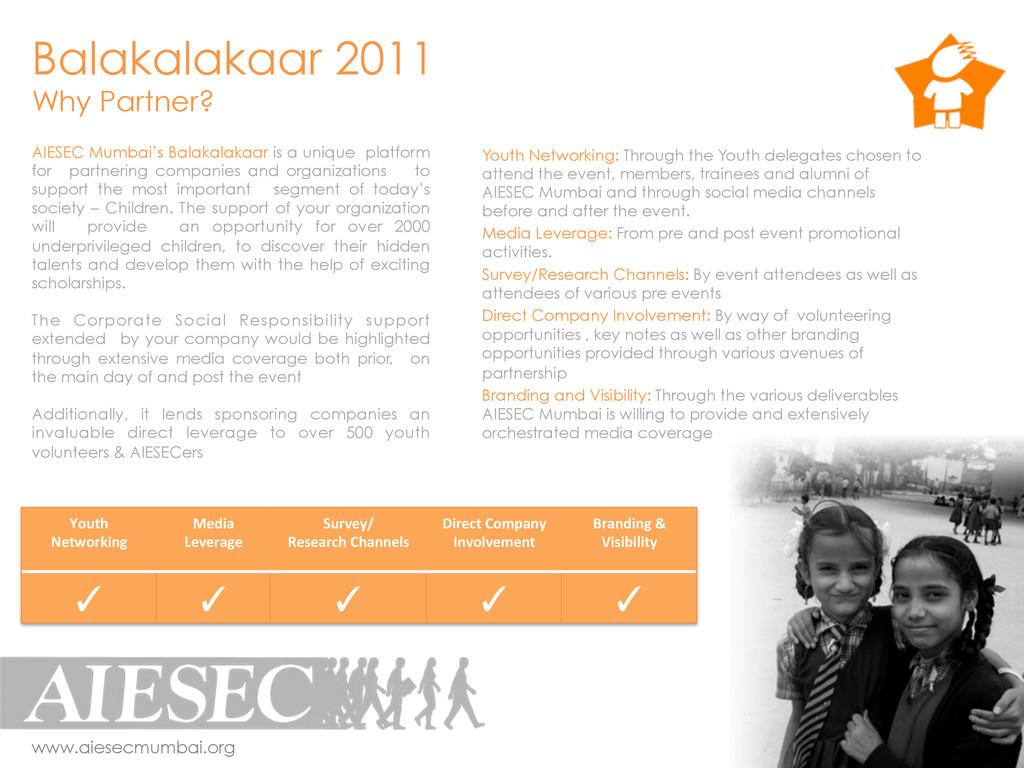 Balakalakaar 2011 Why Partner? www.aiesecmumbai...