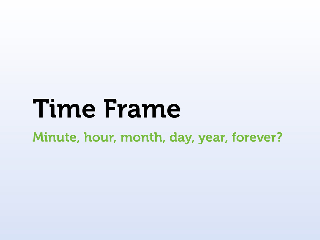 Time Frame Minute, hour, month, day, year, fore...