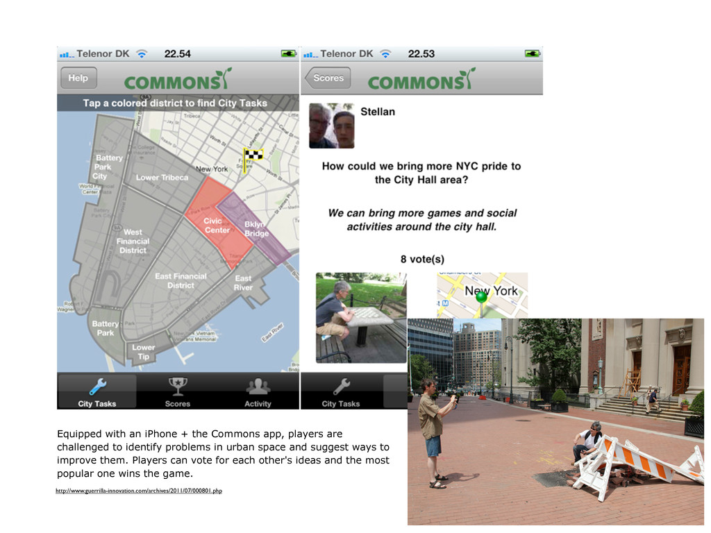 Equipped with an iPhone + the Commons app, play...