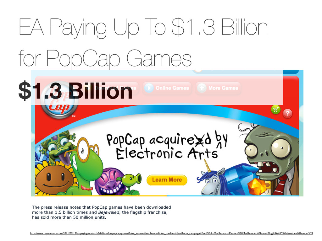 EA Paying Up To $1.3 Billion for PopCap Games $...