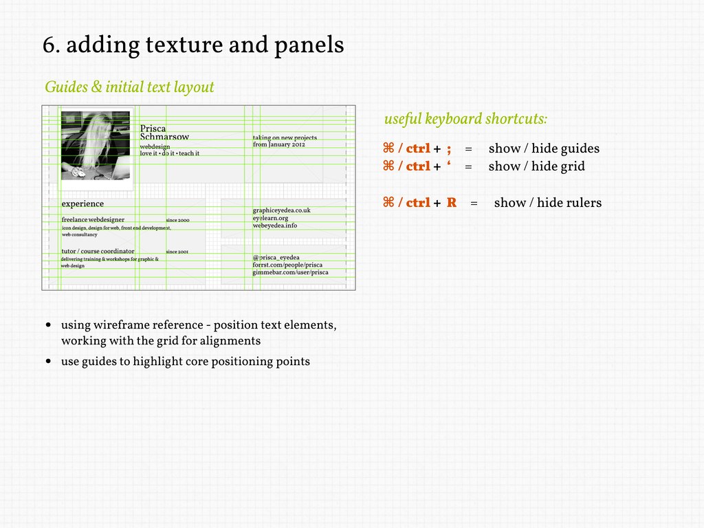 6. adding texture and panels Guides & initial t...