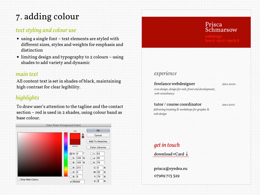 7. adding colour text styling and colour use • ...