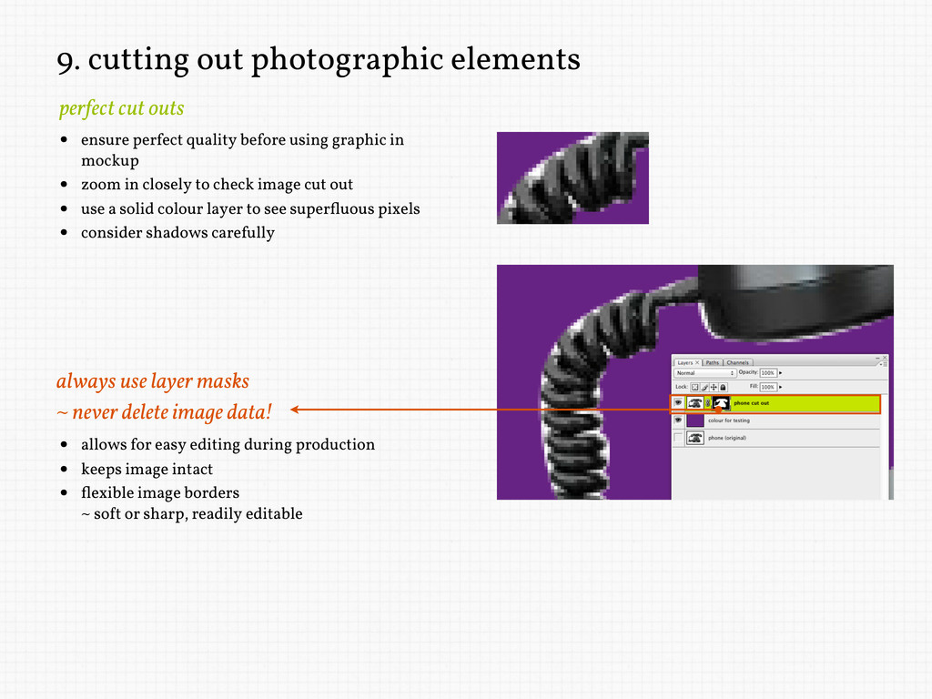 9. cutting out photographic elements • ensure p...