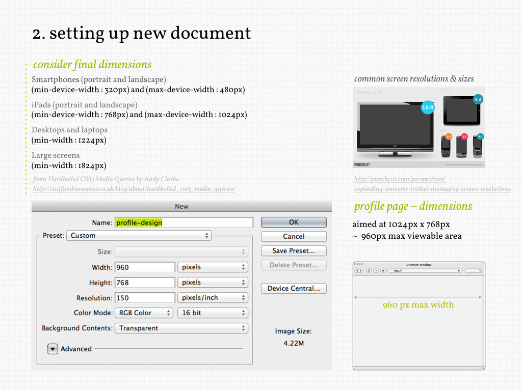 2. setting up new document aimed at 1024px x 76...