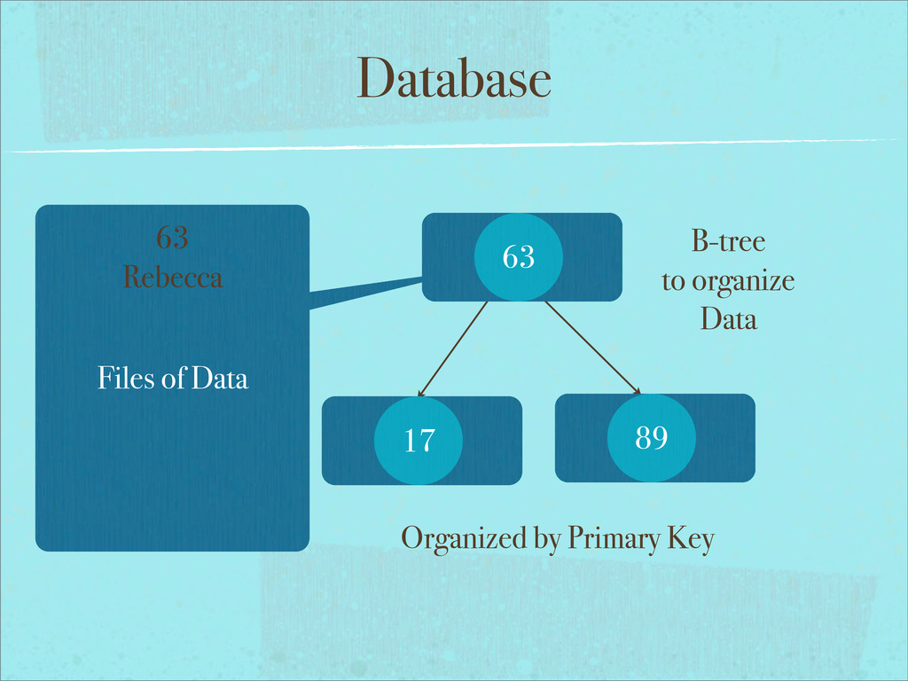 Database Files of Data 63 Rebecca B-tree to org...