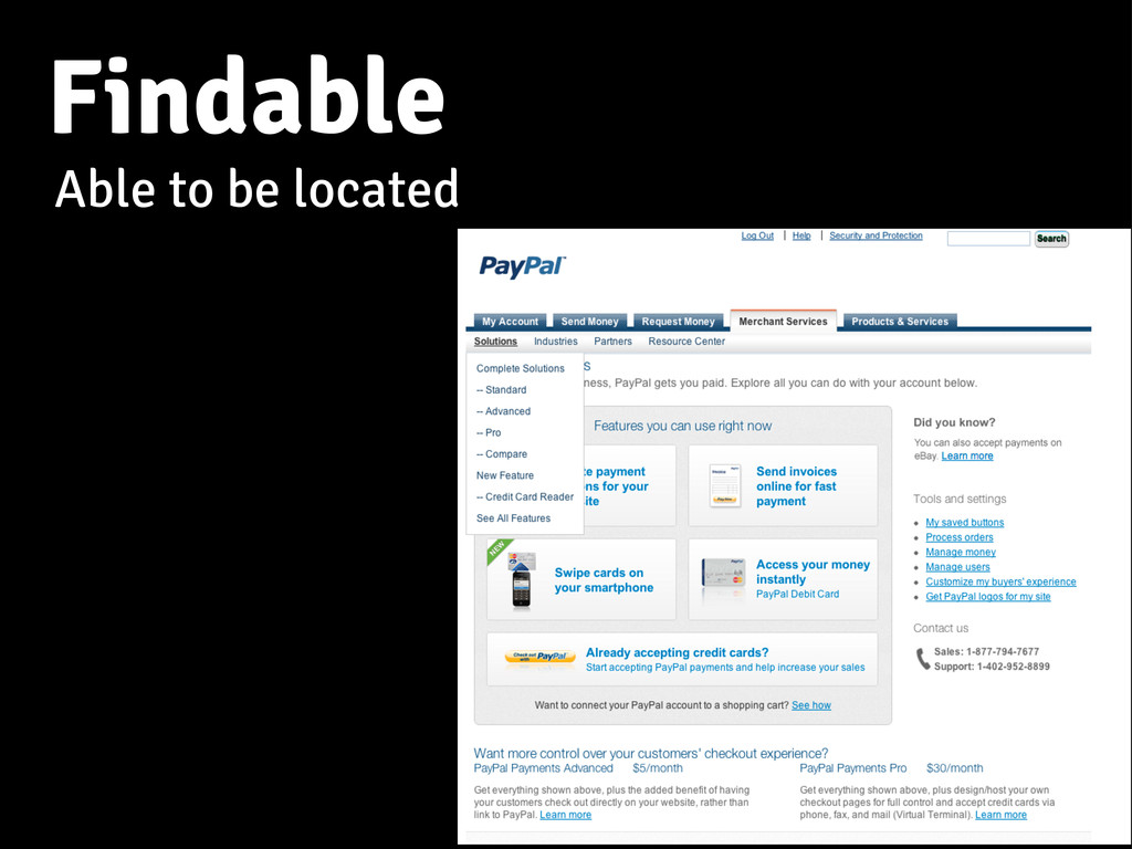 Findable Able to be located
