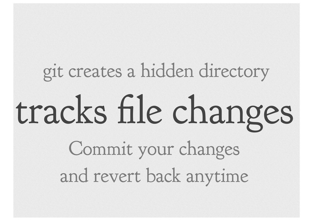 tracks le changes git creates a hidden director...