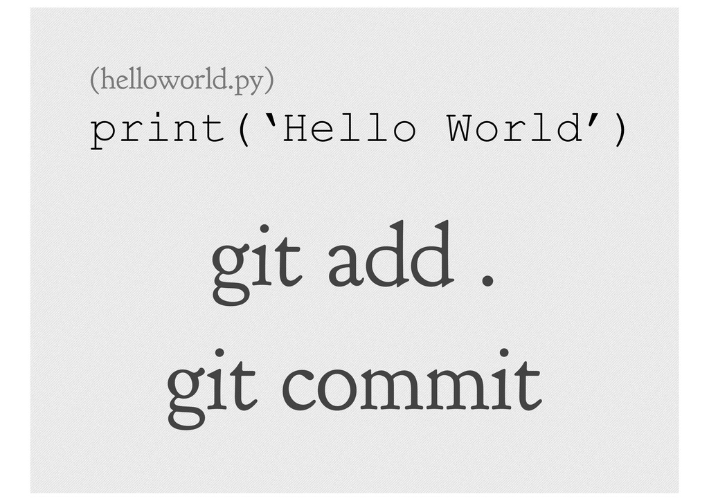 git add . git commit print('Hello World') (hell...