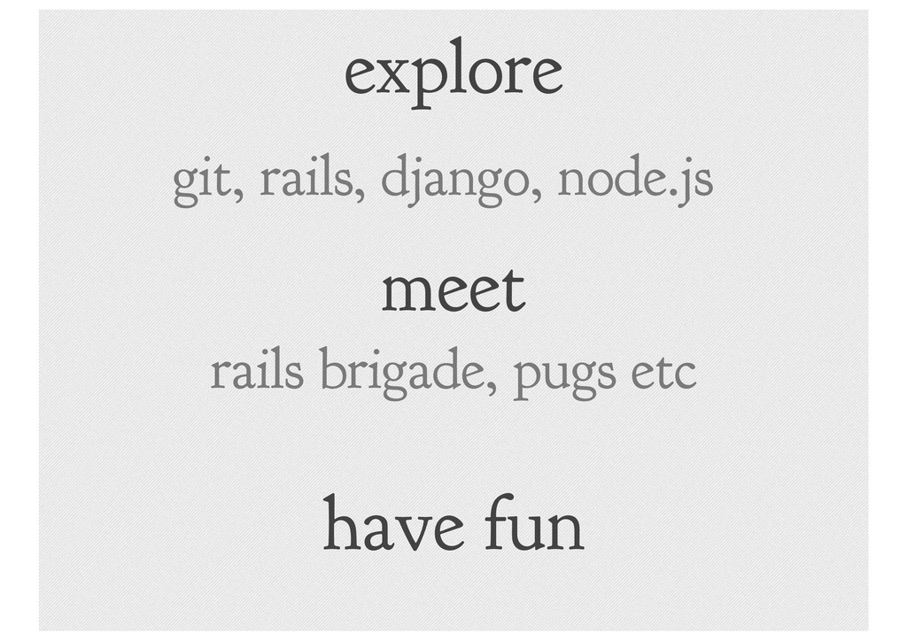 explore git, rails, django, node.js meet rails ...