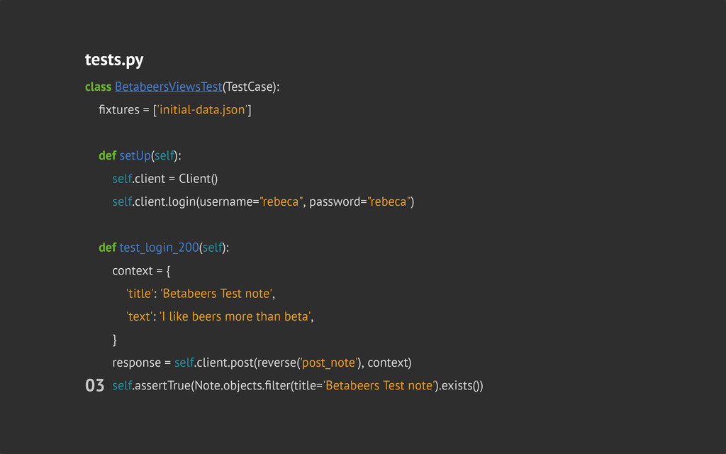 tests.py class BetabeersViewsTest(TestCase): fi...