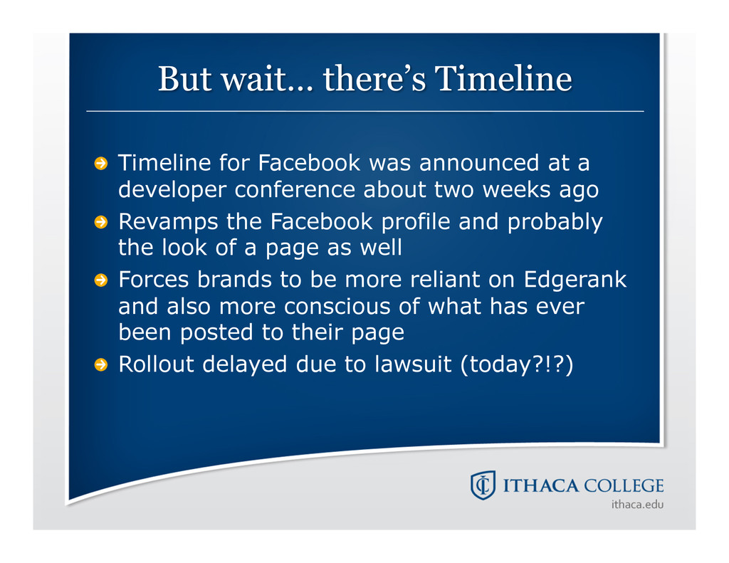 !   Timeline for Facebook was announced at a de...