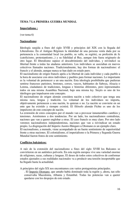 16 TEMA 7 LA PRIMERA GUERRA MUNDIAL Imperialism...