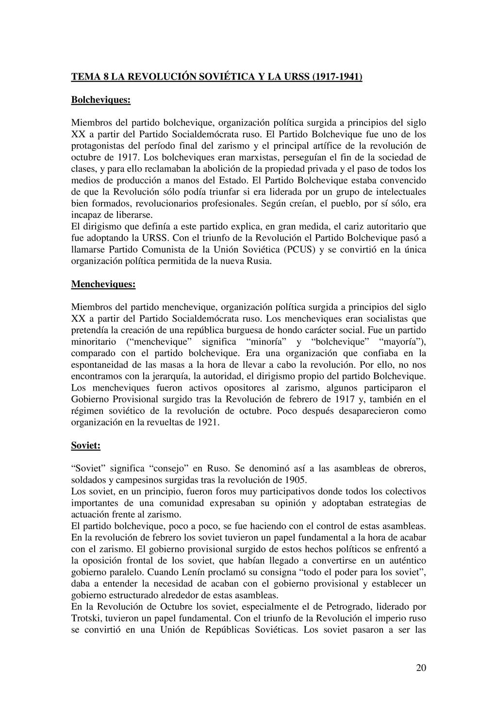 20 TEMA 8 LA REVOLUCIÓN SOVIÉTICA Y LA URSS (19...