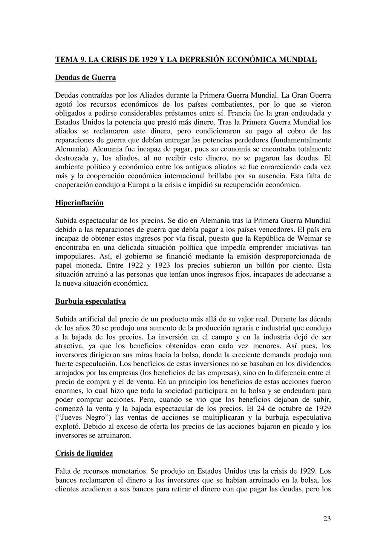 23 TEMA 9. LA CRISIS DE 1929 Y LA DEPRESIÓN ECO...
