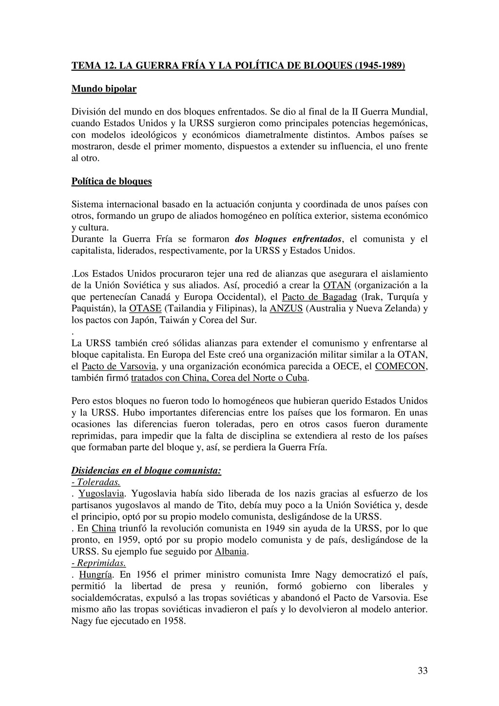33 TEMA 12. LA GUERRA FRÍA Y LA POLÍTICA DE BLO...