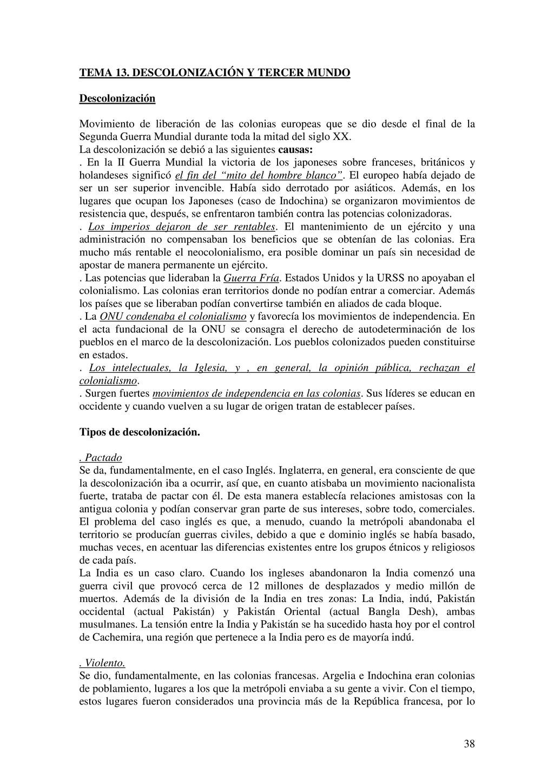 38 TEMA 13. DESCOLONIZACIÓN Y TERCER MUNDO Desc...