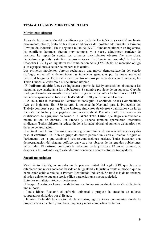 9 TEMA 4: LOS MOVIMIENTOS SOCIALES Movimiento o...