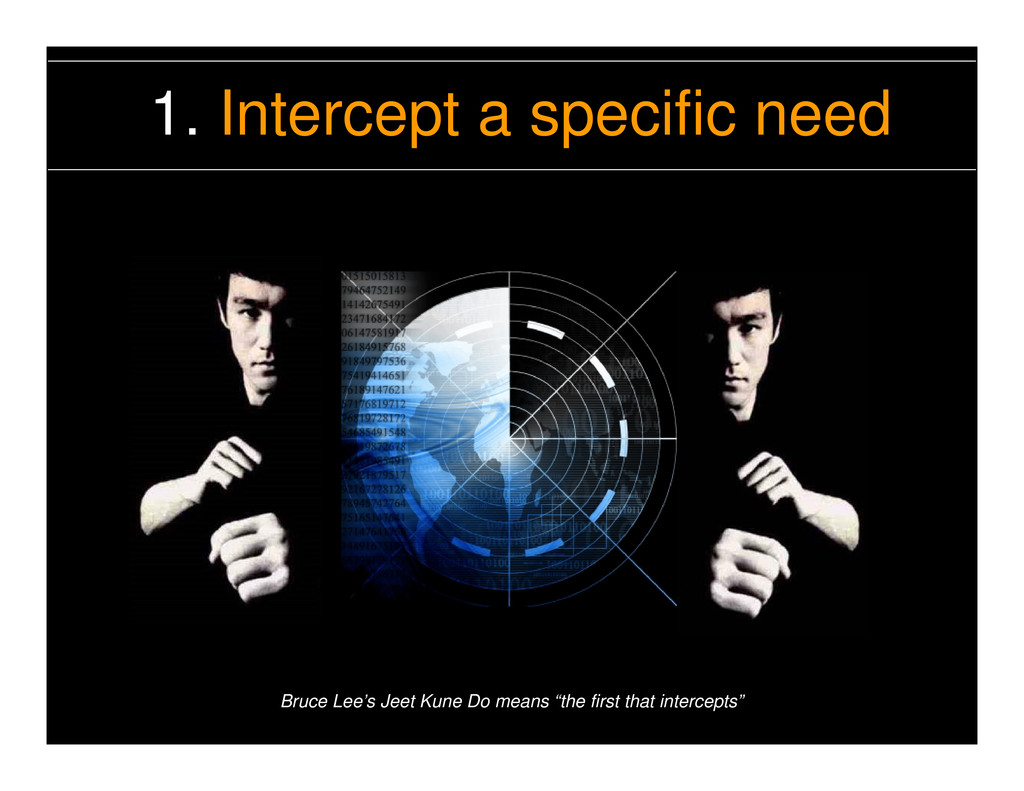 1. Intercept a specific need Bruce Lee's Jeet K...