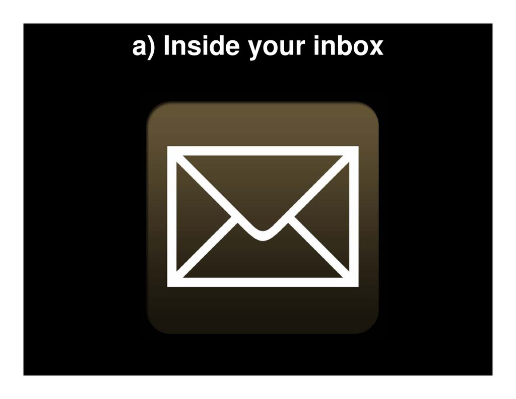 a) Inside your inbox
