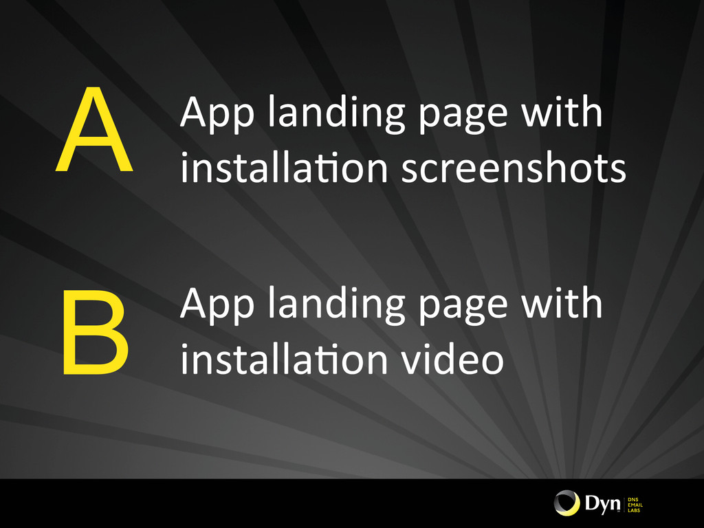 App landing page with  installaHon...