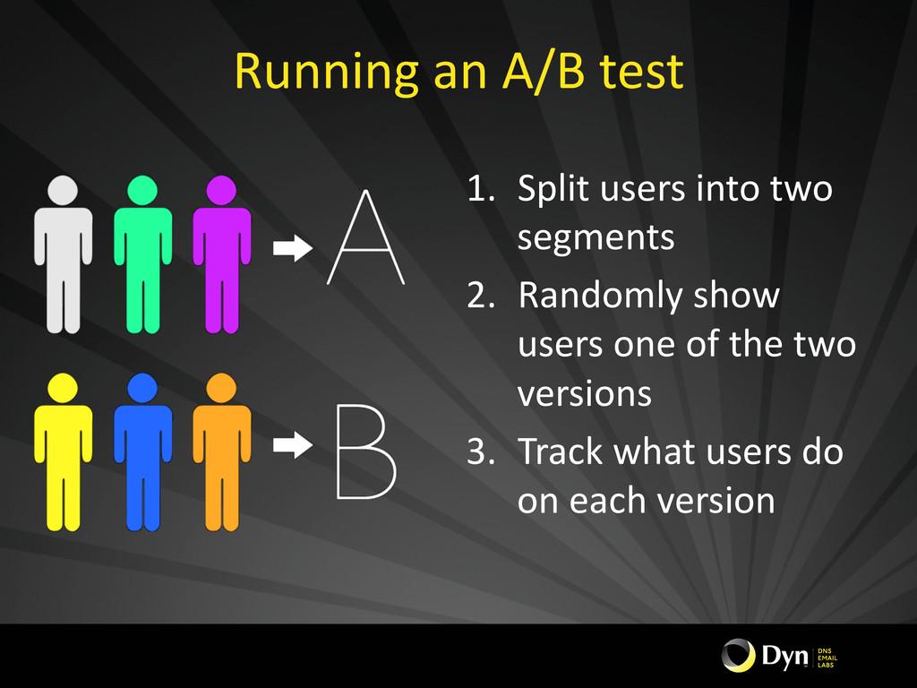 Running an A/B test  1. Split u...