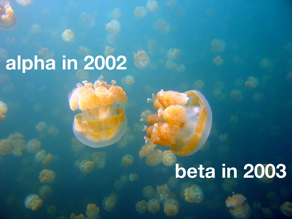 alpha in 2002 beta in 2003