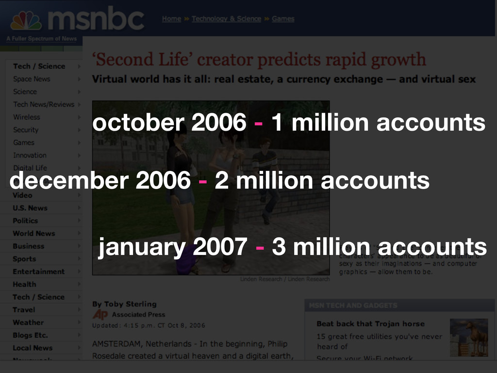 october 2006 - 1 million accounts december 2006...