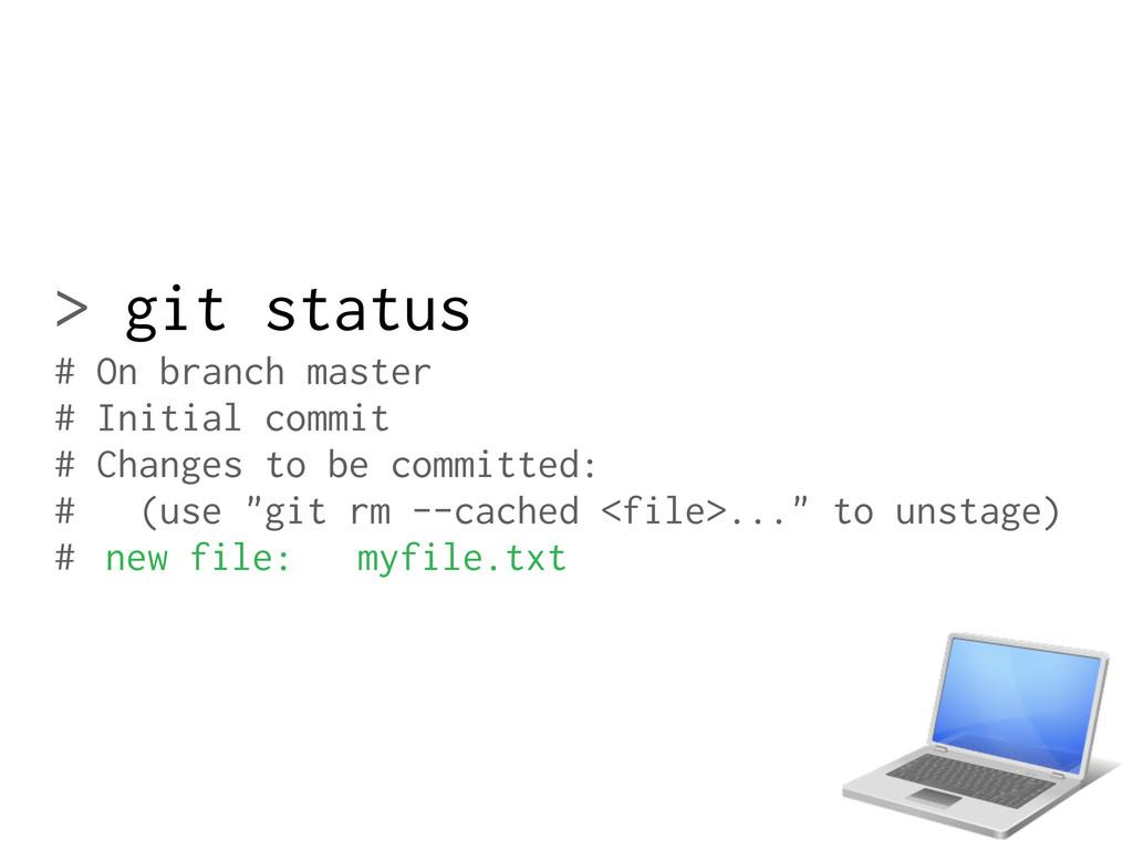 > git status # On branch master # Initial commi...