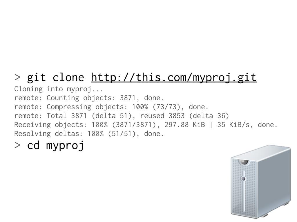 > git clone http://this.com/myproj.git Cloning ...
