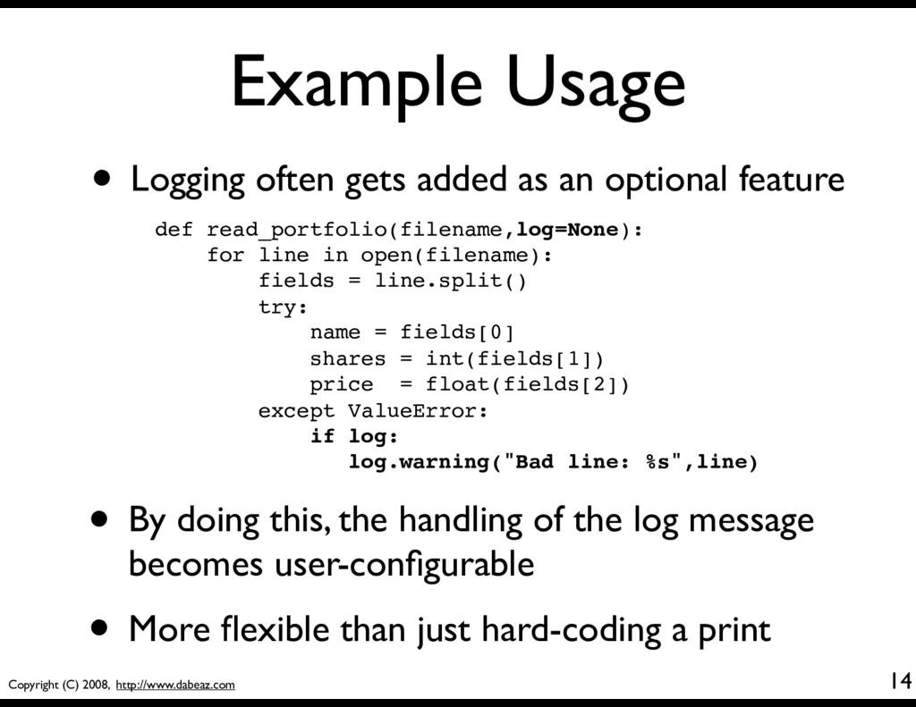 Copyright (C) 2008, http://www.dabeaz.com Examp...
